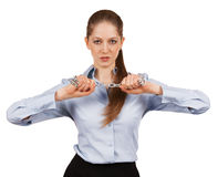 Young woman trying to break a metal chain Stock Photography