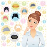 Young woman trying to choose a hat. Royalty Free Stock Images