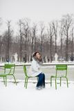 Young woman in Tuileries garden on a winter day Stock Images