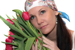 Young woman with tulips Royalty Free Stock Photography