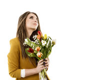 Young woman with tulips Stock Image
