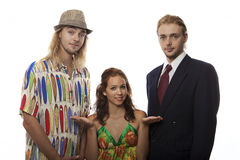 Young woman with twin brothers. Trying to make a choice Royalty Free Stock Photography