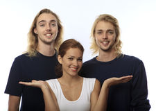 Young woman with twin brothers Stock Image