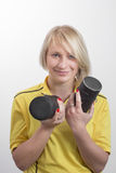Young woman with two carrying cases for lens Royalty Free Stock Photos