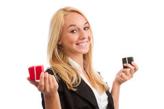 Young woman with two present boxes Stock Photo