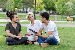 Young woman and two young men are working in the park with a laptop. stock photography