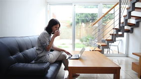 Young woman typing on laptop at home. Pretty young woman typing on laptop and drinking coffee at modern cozy home stock video footage
