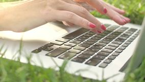 Young woman typing on laptop keyboard at nature. Hands typing on laptop keypad on green grass. 4K 422 10 bit stock video