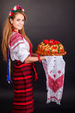 Young woman in ukrainian clothes, Stock Images