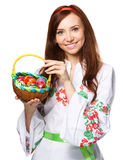 Young woman in ukrainian national cloth Stock Photos