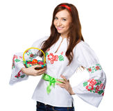 Young woman in ukrainian national cloth Stock Photos