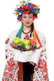 Young woman in the Ukrainian national clothes Stock Images