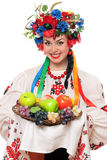 Young woman in the Ukrainian national clothes Royalty Free Stock Images