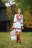 Young woman in Ukrainian style clothing Stock Photography
