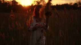 Young woman in Ukrainian national embroidered shirt walks through meadow at sunset. Young woman in Ukrainian traditional national embroidered shirt walks stock footage