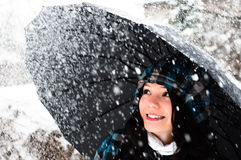 Young woman with umbrella Stock Photography
