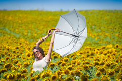 Young woman with umbrella Stock Photo