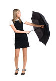 Young woman with umbrella Stock Images