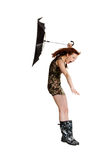 Young woman with umbrella blown by wind. Royalty Free Stock Image