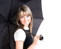 Young woman with umbrella closeup Royalty Free Stock Photography