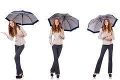The young woman with umbrella isolated on white Stock Photo