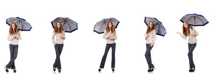 The young woman with umbrella isolated on white Royalty Free Stock Images