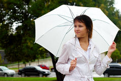 Young woman with umbrella portrait. Royalty Free Stock Photos