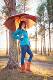 Young woman with umbrella in sunset lights in forest. Young woman with umbrella in sunset lights in the forest stock photography