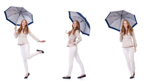 The young woman with umbrella on white Stock Photo