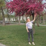 Young woman under blooming wild apple tree. In spring Royalty Free Stock Photo