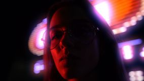 Young woman under drug influence hanging out in club, nightlife, close up. Stock footage stock footage