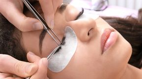 Young woman undergoing eyelash extensions procedure,. Closeup Royalty Free Stock Photos