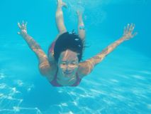Young Woman Underwater Stock Photos