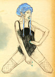 Young woman in underwear. Hand drawn illustration. Stock Photography