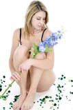 Young woman in underwear sitting Royalty Free Stock Images
