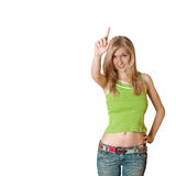 Young woman with up finger Royalty Free Stock Photos