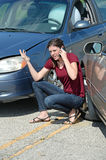 Young Woman Upset After Car Collision Royalty Free Stock Photo