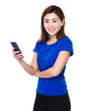 Young woman use of cellphone Stock Photo