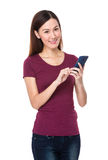 Young woman use of cellphone Royalty Free Stock Photo