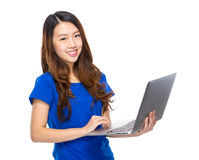 Young woman use laptop Royalty Free Stock Images
