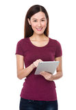 Young woman use of tablet Stock Photography