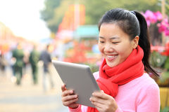 Young woman use tablet Royalty Free Stock Images