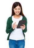 Young woman use of tablet pc Stock Photos