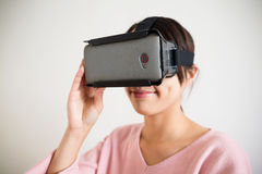 Young Woman use vr device Royalty Free Stock Image