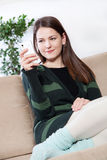 Young woman using cell phone Stock Photo