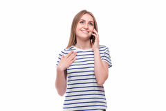Young Woman Using a Cell Phone. Isolated on White Stock Photo