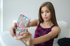 Young Woman using cellphone Stock Photos