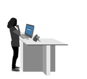 Young woman using a computer scene Royalty Free Stock Images