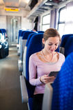Young woman  traveling by train Stock Photos