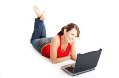 Young woman using a laptop Royalty Free Stock Photography